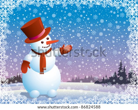 Cartoon happy snowman looking at the snowflake - stock vector