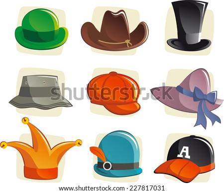 Cartoon hats collection, with cloche, fedora, cowboy, beret, schoolboy, bucket, trilby, victorian, mini, bowler, cap, dwarf hat. Vector illustration cartoon.  - stock vector