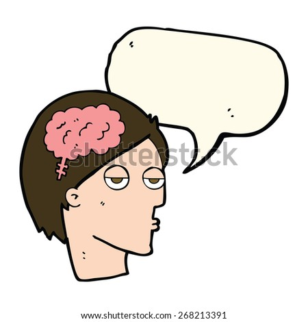 cartoon head with brain symbol with speech bubble - stock vector