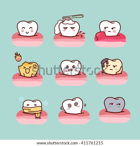 cartoon healthy and decayed tooth set,great for dental care concept - stock vector
