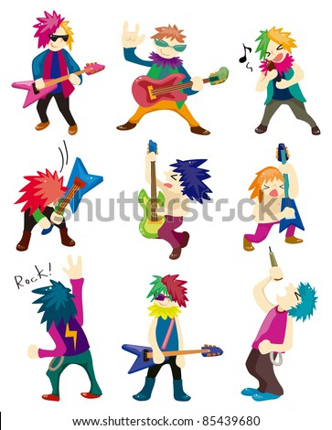 Cartoon Heavy Metal rock music band - stock vector