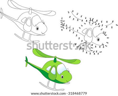 Cartoon helicopter. Coloring and dot to dot educational game for kids. Vector illustration - stock vector