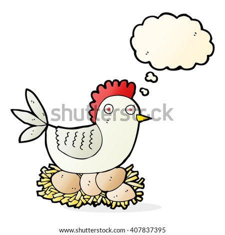 cartoon hen on eggs with thought bubble
