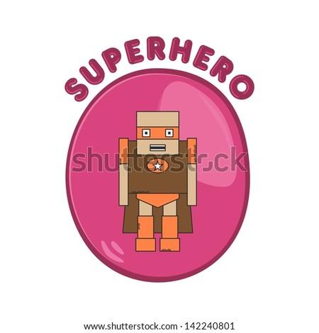 cartoon hero lady boy - stock vector