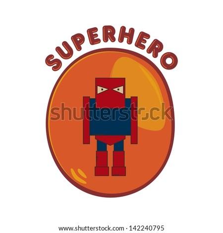 cartoon hero mask man - stock vector