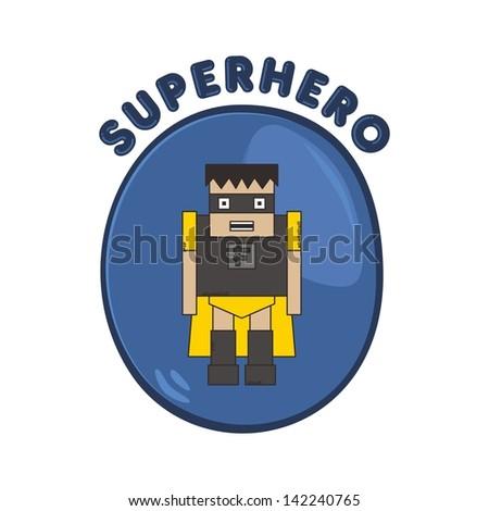cartoon hero protector - stock vector