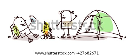 cartoon hikers with campfire and tent - stock vector