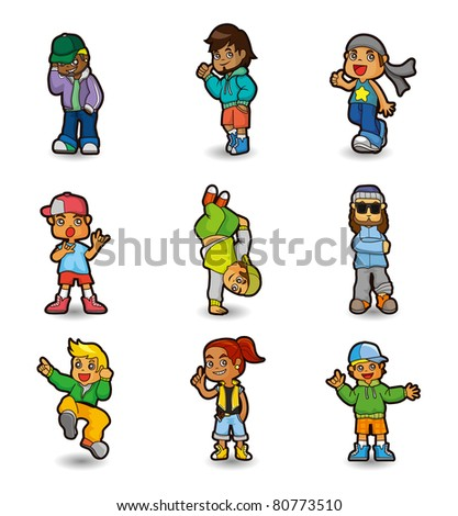 cartoon hip hop boy dancing icon set - stock vector