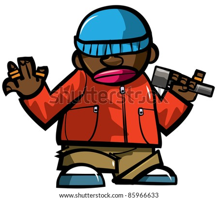Cartoon hip hop man with microphone. Isolated on white - stock vector