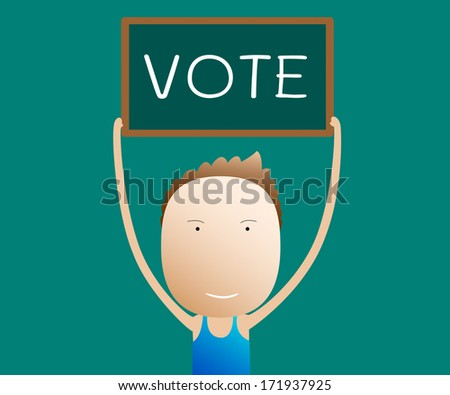 cartoon holds a sign vote, vector - stock vector