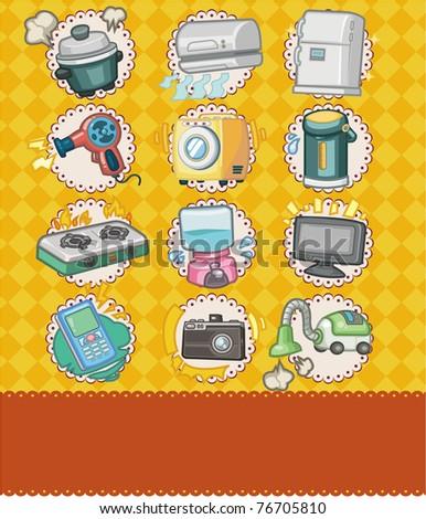 Cartoon home appliance seamless pattern stock vector