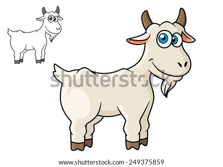 Cartoon horned farm goat isolated on white background for agriculture or fairytales design - stock vector
