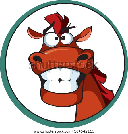 Cartoon horse with a brilliant smile - stock vector
