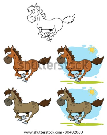 Cartoon Horses Running-Vector Collection - stock vector