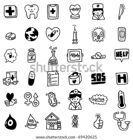 cartoon hospital icon - stock vector