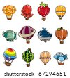 cartoon hot air balloon icon - stock vector
