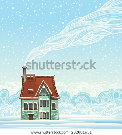 Cartoon house and smoke. Winter vector landscape. - stock vector