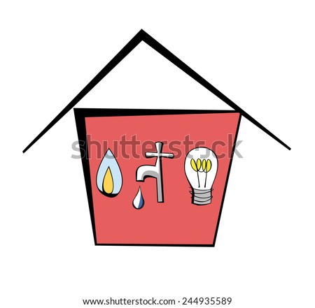 Cartoon house containing gas, water and electricity symbols - stock vector