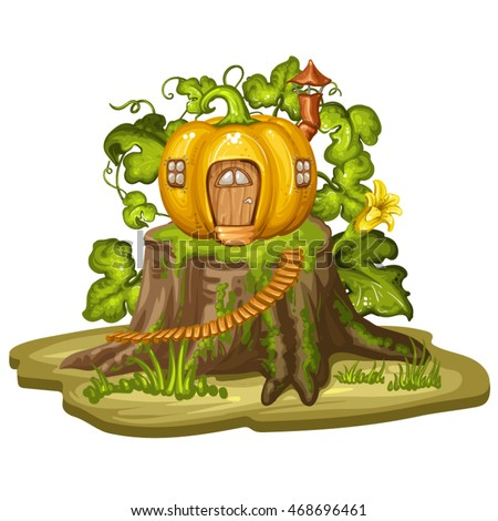 Cartoon house for gnome made from pumpkin