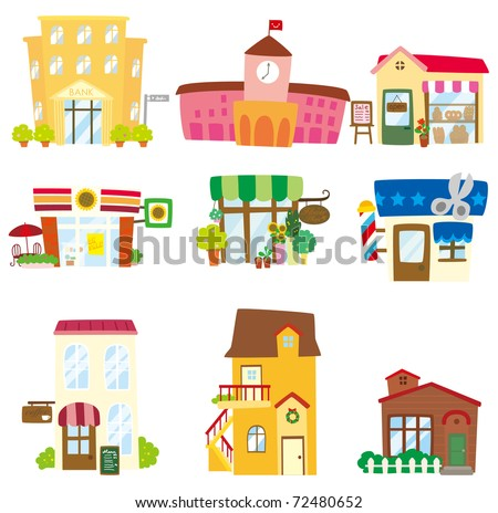 cartoon house icon - stock vector