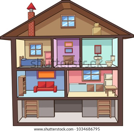 Cartoon House Interior Vector Clip Art Illustration With Simple Gradients All In A Single