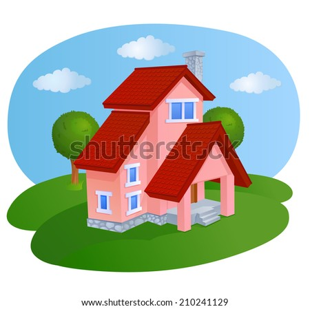Cartoon house with a tiled roof