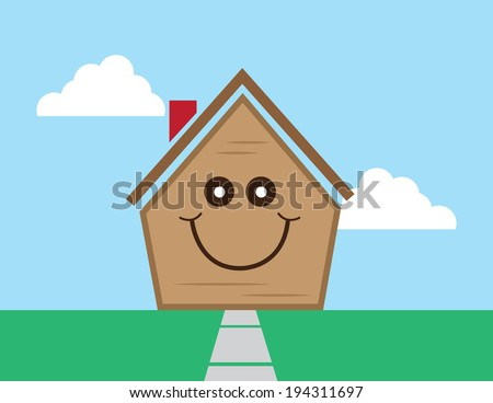 Cartoon house with smiling happy face