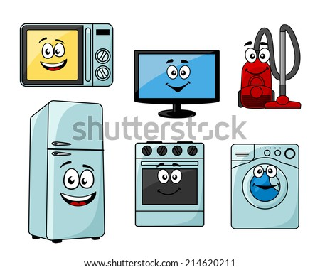 Cartoon household appliances set with microwave, TV, vacuum cleaner, refrigerator, oven and washing machine - stock vector