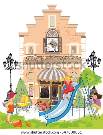 Cartoon houses with children and a playground. Kids background.