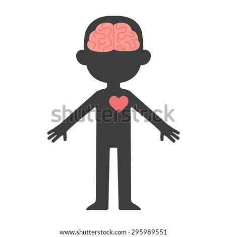 Cartoon human body silhouette with visible brain and heart. - stock vector
