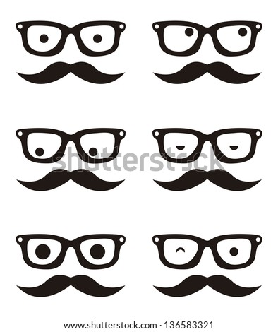 cartoon human faces over white background, hipster. vector - stock vector
