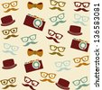 cartoon human faces  with hipster elements, pattern. vector - stock vector
