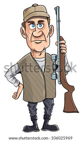 Cartoon hunter holding his gun. Isolated - stock vector