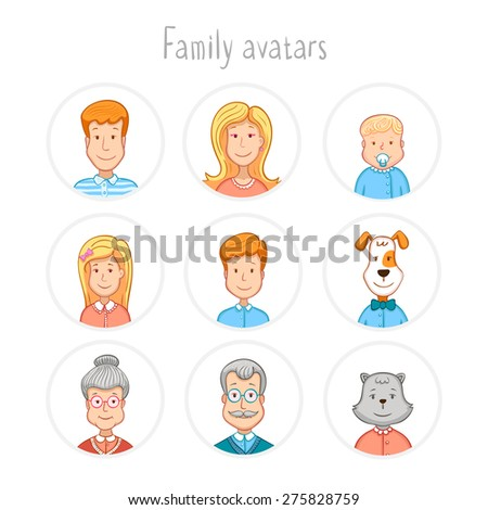 Cartoon icons collection of family members avatars: mom, dad, son, daughter, grandmother, grandfather, dog and cat.  - stock vector