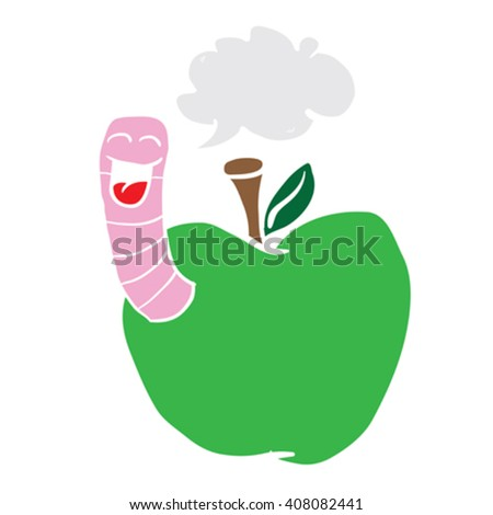 cartoon illustration apple with worm with speech bubble  - stock vector