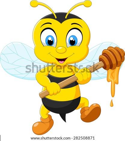 Cartoon illustration, bee holding honey  - stock vector