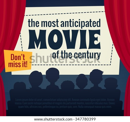 Cartoon illustration / Cinema poster with audience, screen and red curtains / Vector illustration for film premiere  - stock vector