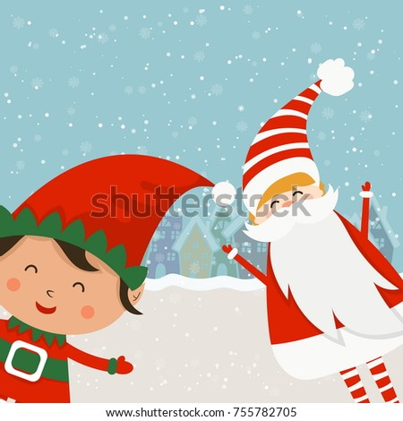 Cartoon illustration for holiday theme with santa claus and elf on winter background. Greeting card for Merry Christmas and Happy New Year. Vector illustration