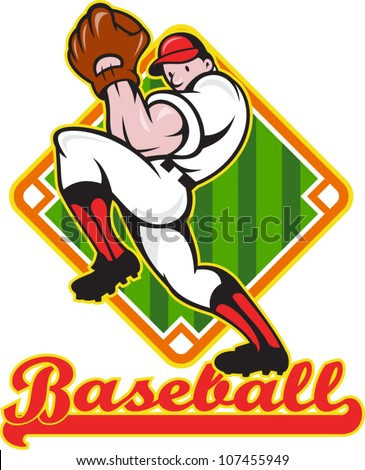 "Cartoon illustration of a baseball player pitcher pitching ball facing front with diamond field in background with text wording ""baseball"" - stock vector"