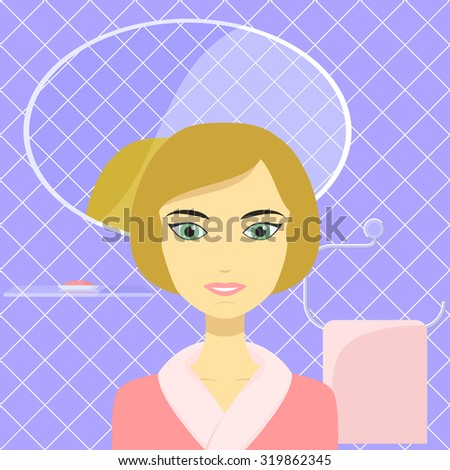 Cartoon illustration of a beautiful woman on background of a glazed tiled wall in the bathroom with a glass shelf with soap dish, mirror and towel. - stock vector