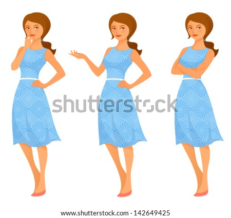 cartoon illustration of a beautiful young woman in summer dress, in various poses - stock vector