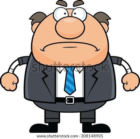 Cartoon illustration of a boss man with a grumpy expression.  - stock vector