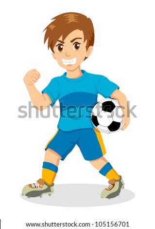 Cartoon illustration of a boy holding a soccer ball - stock vector
