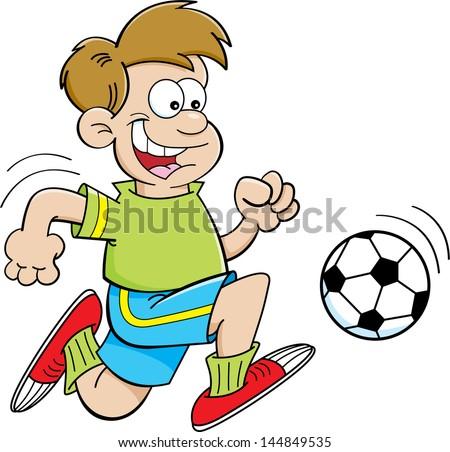 Cartoon illustration of a boy playing soccer. - stock vector