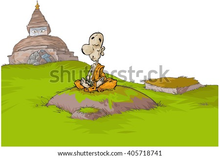 Cartoon illustration of a Buddhist monk with a Stupa in a background. All on separated layers. - stock vector