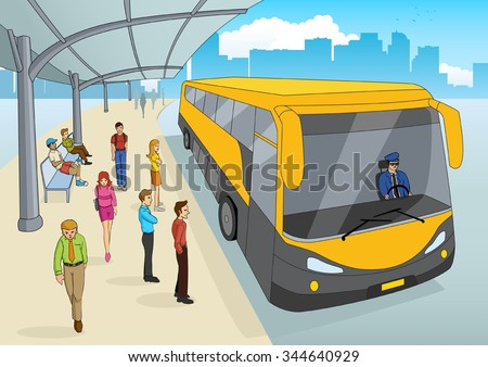 Cartoon illustration of a bus station - stock vector