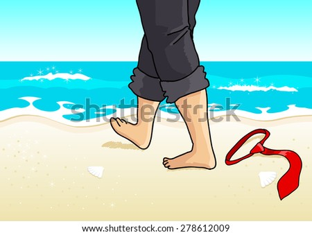 Cartoon illustration of a businessman with barefoot walking on the beach - stock vector
