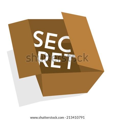 Cartoon illustration of a cardboard box hiding a secret - stock vector