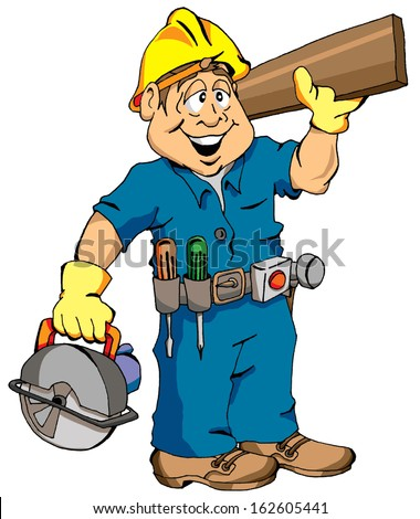 Cartoon Illustration of a Carpenter Ready For Work.