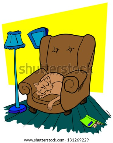 cartoon illustration of a cat sleeping on a chair
